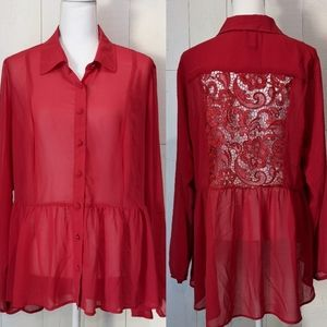 Torrid Red Sheer Peplum Blouse W/ Lace Cut Out
